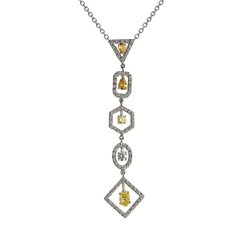 Superior Diamond Cutters Two Tone Drop Necklace with Fancy Color Diamonds