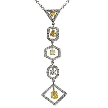 Two Tone Drop Necklace with Fancy Color Diamonds