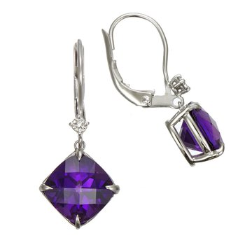 White Gold Cushion Amethyst with Diamond Earrings