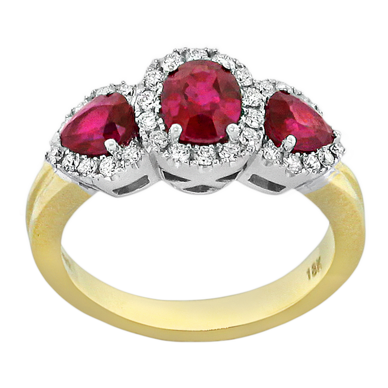 Spark Creations Two Tone Ruby and Diamond Ring