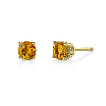 Yellow Gold Citrine Stud Earrings