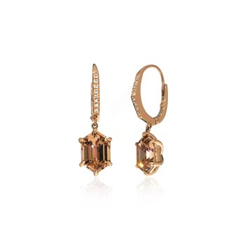 Rose Gold Autumn Tourmaline Earrings with Diamonds