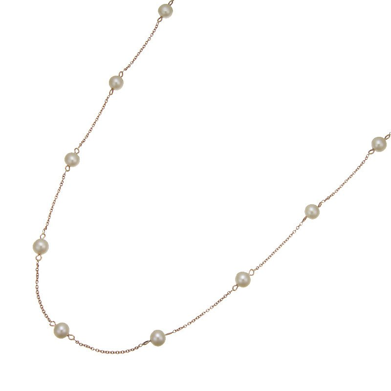 Devon Fashion Rose Gold Tin Cup Pearl Necklace