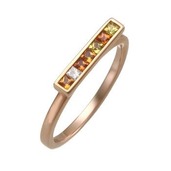 Rose Gold Sapphire and Diamond Bar Ring