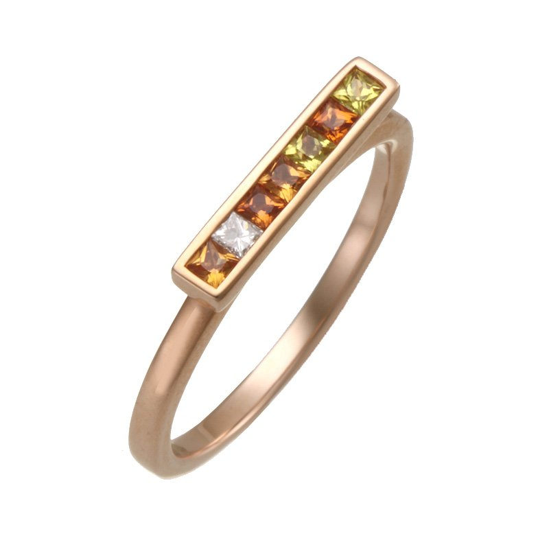 Devon Fashion Rose Gold Sapphire and Diamond Bar Ring