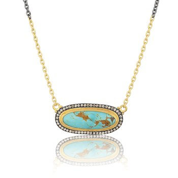 Gold and Oxidized Sterling Silver Kingman Turquoise Necklace with Diamonds