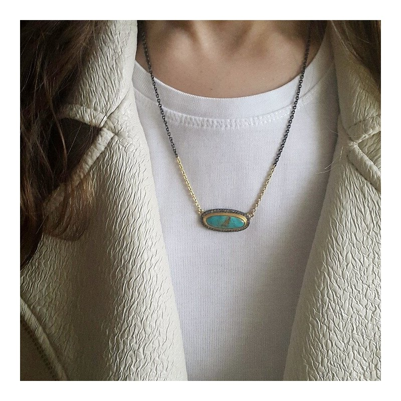 Lika Behar Collection Gold and Oxidized Sterling Silver Kingman Turquoise Necklace with Diamonds