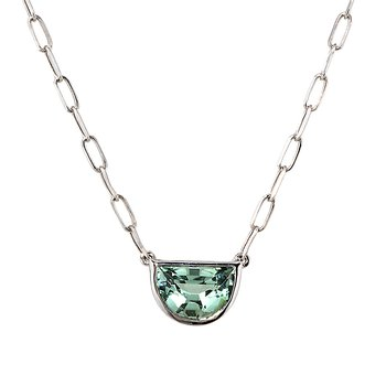 White Gold Green Tourmaline Paper Clip Necklace