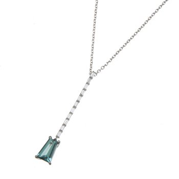 White Gold Namibian Tourmaline and Diamond Vertical Bar Pendant