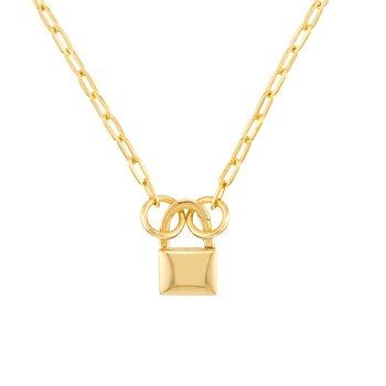 Yellow Gold Split Chain with Padlock Push Lock