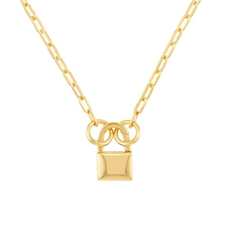 Devon Fashion Yellow Gold Split Chain with Padlock Push Lock