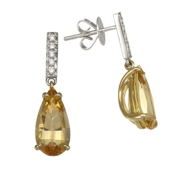 Two Tone Imperial Topaz and Diamond Drop Earrings