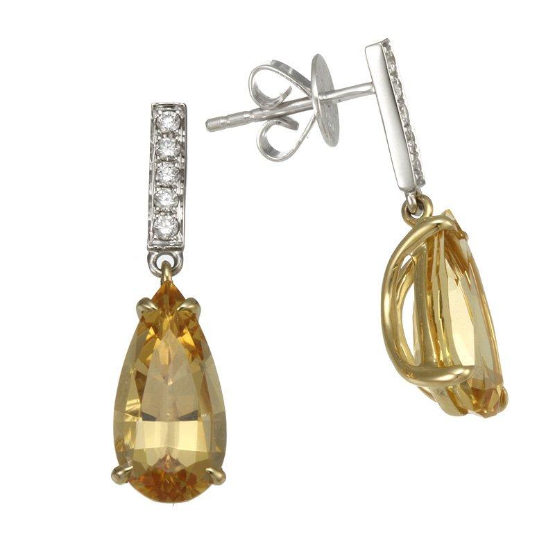 Devon Original Two Tone Imperial Topaz and Diamond Drop Earrings