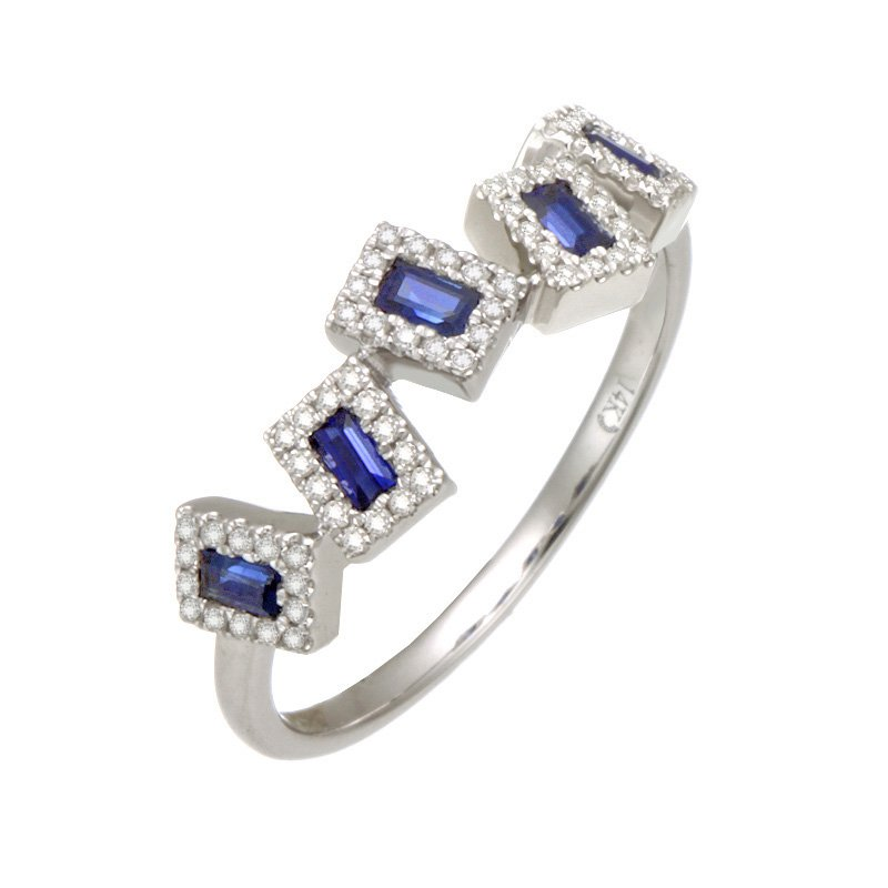 Dilamani White Gold Asymmetrical Blue Sapphire and Diamond Ring