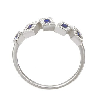 White Gold Asymmetrical Blue Sapphire and Diamond Ring