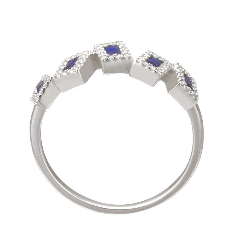 Dilamani White Gold Asymmetrical Blue Sapphire and Diamond Ring