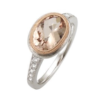 Two Tone Morganite and Diamond Ring