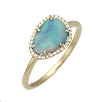 Yellow Gold Black Opal Doublet and Diamond Ring