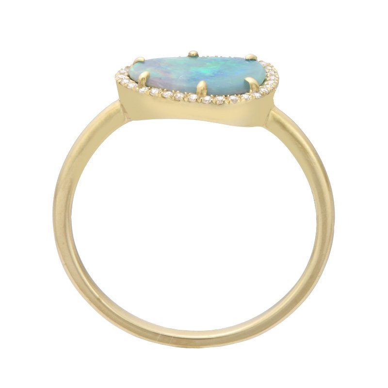 Dilamani Yellow Gold Black Opal Doublet and Diamond Ring