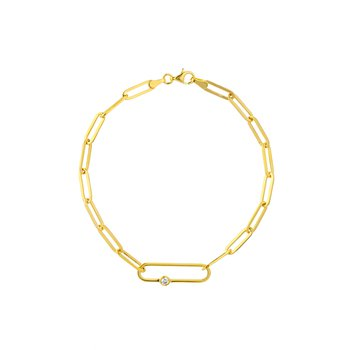 Yellow Gold Fancy Paperclip Bracelet with Diamond