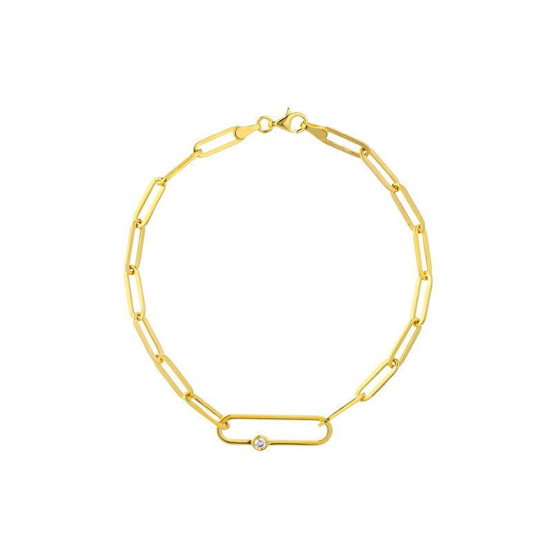 Devon Fashion Yellow Gold Fancy Paperclip Bracelet with Diamond