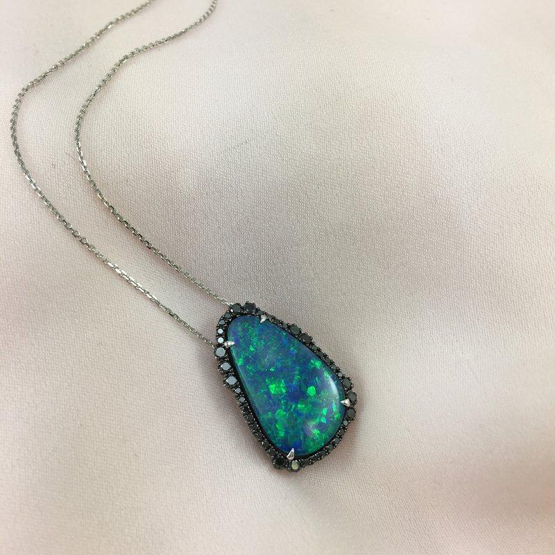Devon Original White Gold Boulder Opal and Black Diamond Pendant