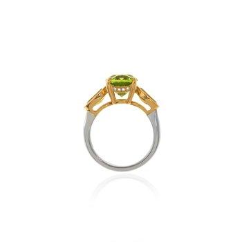 Two Tone Peridot and Canary Tourmaline Ring