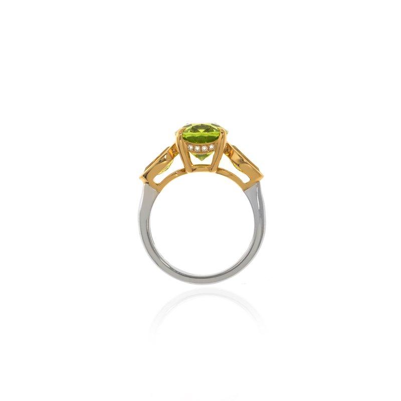Devon Original Two Tone Peridot and Canary Tourmaline Ring