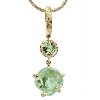 Sharing The Rough Yellow Gold Mint Green Garnet Pendant