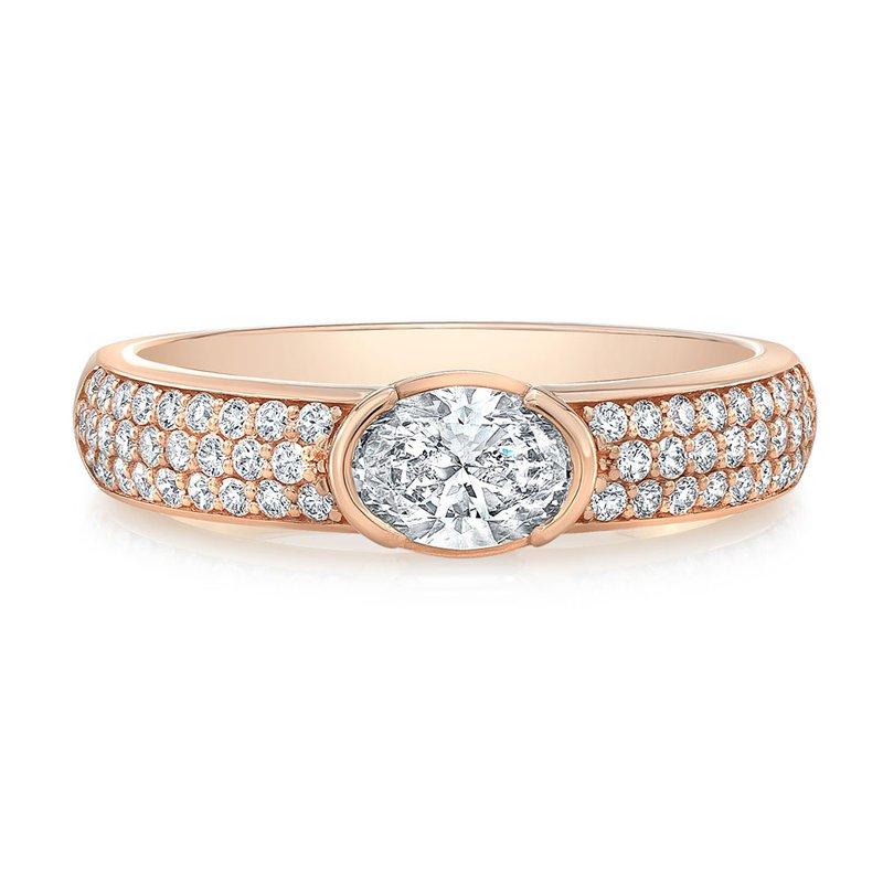 Norman Silverman Rose Gold Pave Diamond Ring with Center Oval Diamond