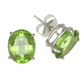 White Gold Oval Peridot Stud Earrings