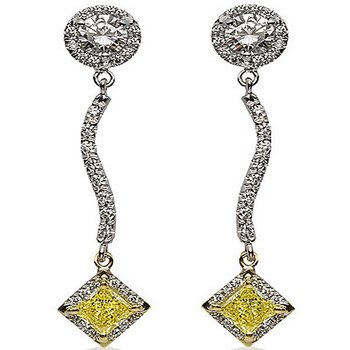 Two Tone Drop Earrings with White and Yellow Diamonds