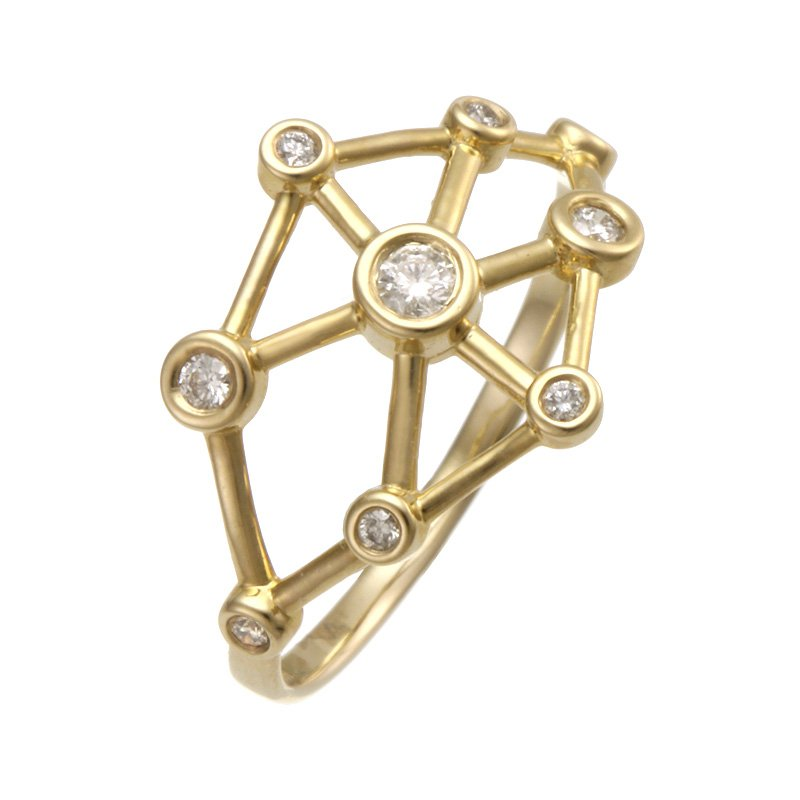 Devon Fashion Yellow Gold Galaxy Diamond Ring