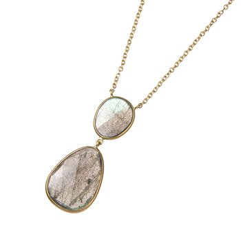 Yellow Gold Double Labradorite Drop Necklace