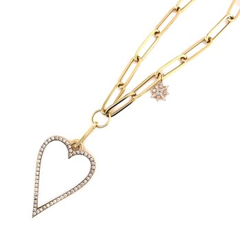 Yellow Gold Mother of Pearl Heart Paper Clip Necklace