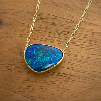 Yellow Gold Boulder Opal Necklace