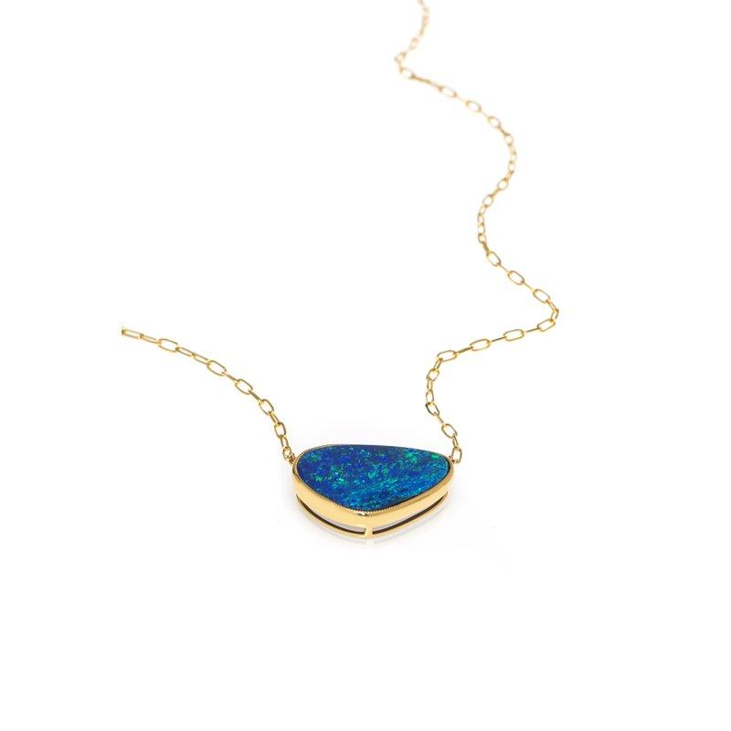 Devon Original Yellow Gold Boulder Opal Necklace