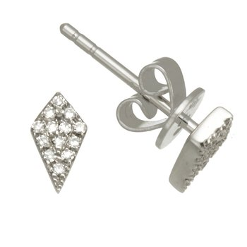 White Gold Kite Shape Diamond Stud Earrings