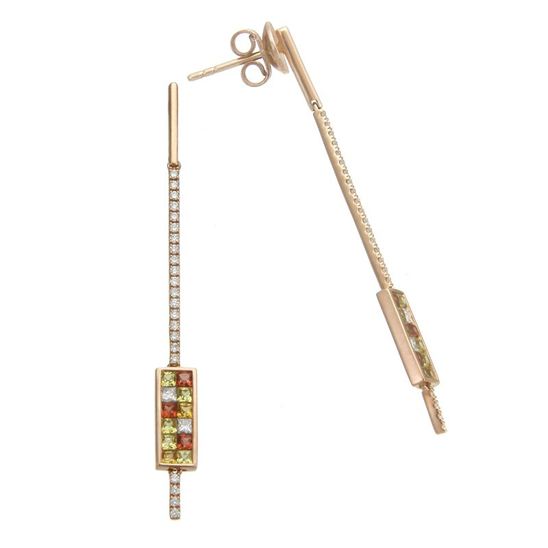 Devon Fashion Rose Gold Sapphire and Diamond Line and Bar Drop Earrings