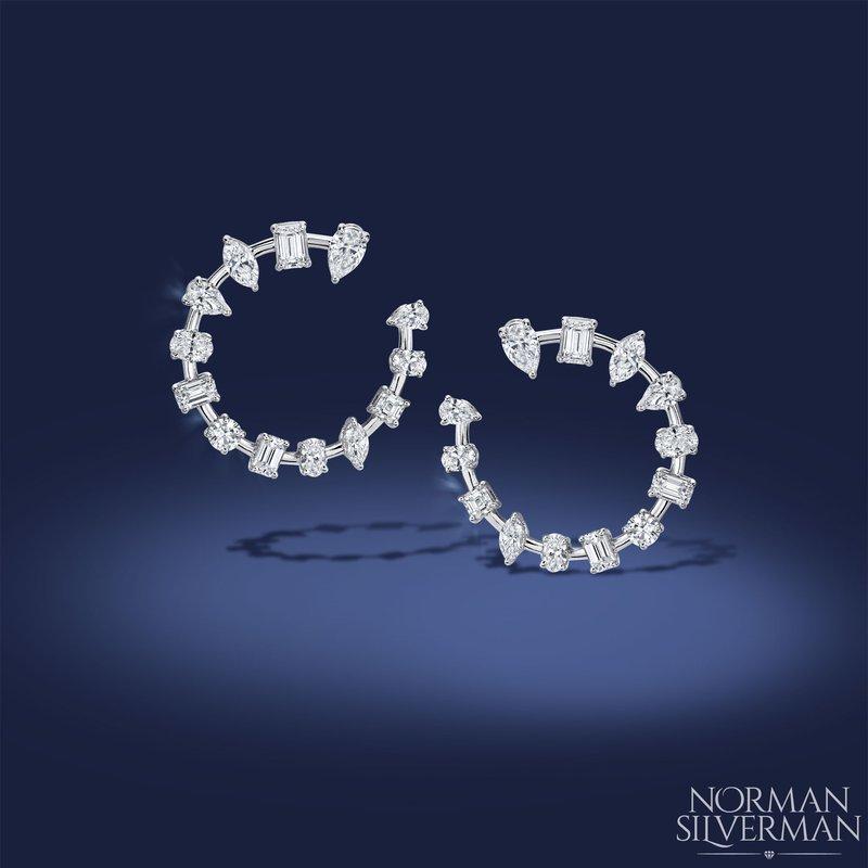 Norman Silverman White Gold Hoop Style Fancy Diamond Earrings