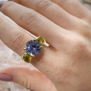Yellow Gold Tanzanite and Canary Tourmaline Ring