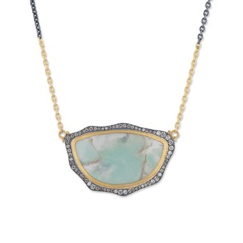 Yellow Gold and Oxidized Sterling Silver Aquaprase and Diamond Necklace