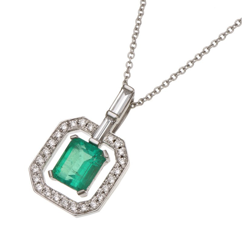 Devon Original White Gold Emerald and Diamond Pendant