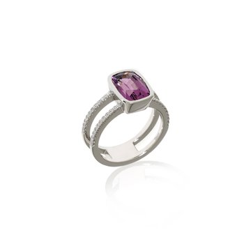 White Gold Spinel and Diamond Ring