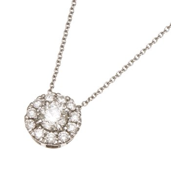 White Gold Diamond with Round Halo Pendant