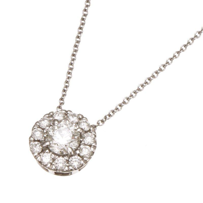 Devon Fashion White Gold Diamond with Round Halo Pendant