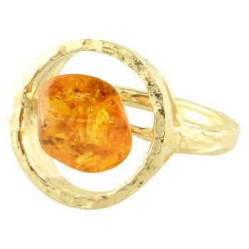 Sharing The Rough Yellow Gold Mandarin Garnet Ring