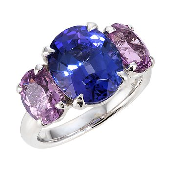 White Gold Tanzanite and Pink Spinel Ring