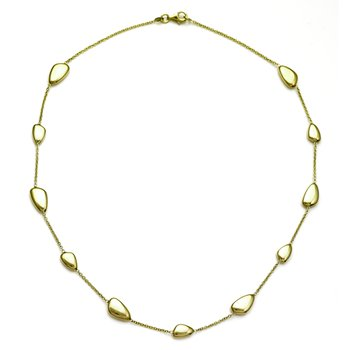 Yellow Gold Organic Bean Shape Necklace
