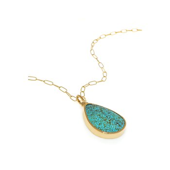 Yellow Gold Pear Shape Kingman Turquoise Pendant with Paper Clip Chain